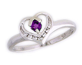 Amethyst and Diamond White Gold Heart Ring