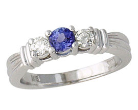 Buy Tanzanite and Diamond Ring – 14K White Gold