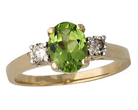 Peridot and Diamond Three Stone Ring 14K Yellow Gold