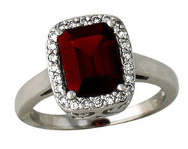 Berry-Hue Garnet and Diamond Ring, 14K White Gold