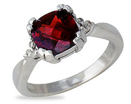 Buy Garnet and Diamond Ring 14K White Gold