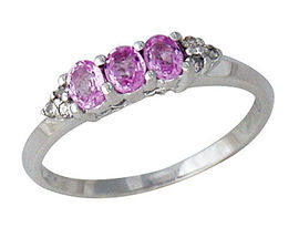 Pink Sapphire & Diamond Ring, 14K White Gold