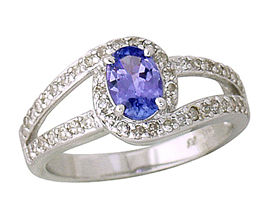 Oval Cut Tanzanite and Diamond Wrap Ring - 14K White Gold