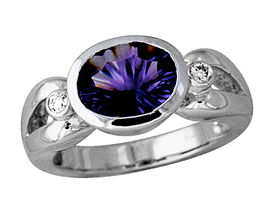 Buy Amethyst and Diamond Ring – 10K White Gold