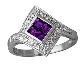Buy Square-Cut Amethyst and Diamond Ring – 14K White Gold