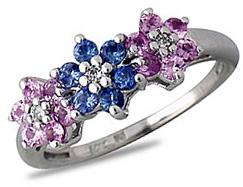 Buy Pink Sapphire and Tanzanite Flower Diamond Ring, 14K White Gold