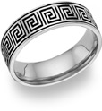 14K White Gold Antiqued Celtic Maze Wedding Band Ring