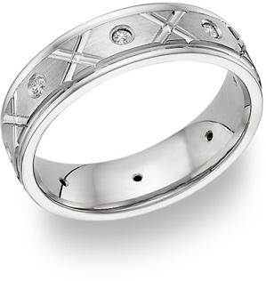 XoXo Design Diamond Wedding Band Ring - 14K White Gold