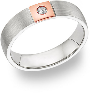 14K White Gold & Rose Gold Diamond Wedding Band Ring