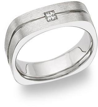 14K White Gold Square Diamond Wedding Band Ring