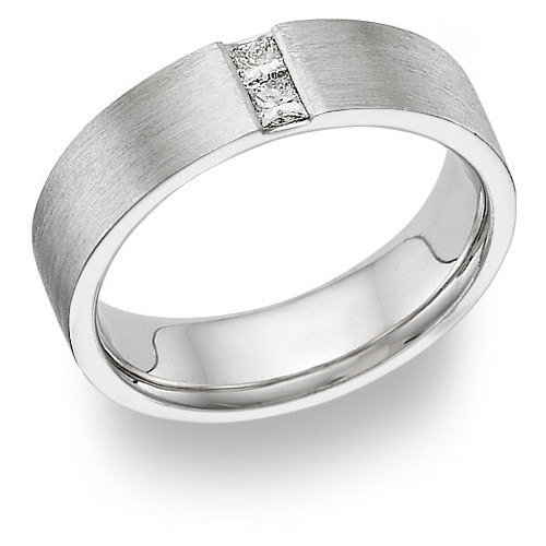 Husband and Wife Diamond Wedding Band Ring - 14K White Gold