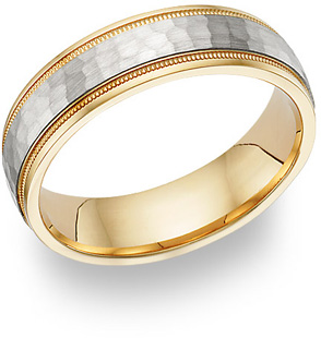 Buy Hammered Wedding Band Ring – 14K Two-Tone Gold