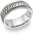 18K White Gold Braided Wedding Band