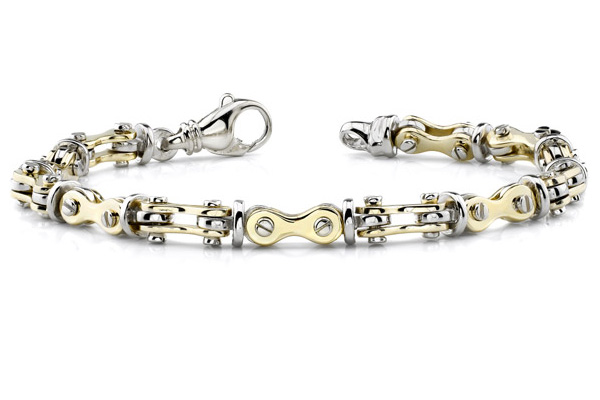 Bicycle Link Bracelet, 14K Two-Tone Gold