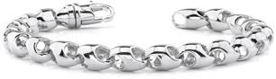 14K White Gold Puffy Link Bracelet