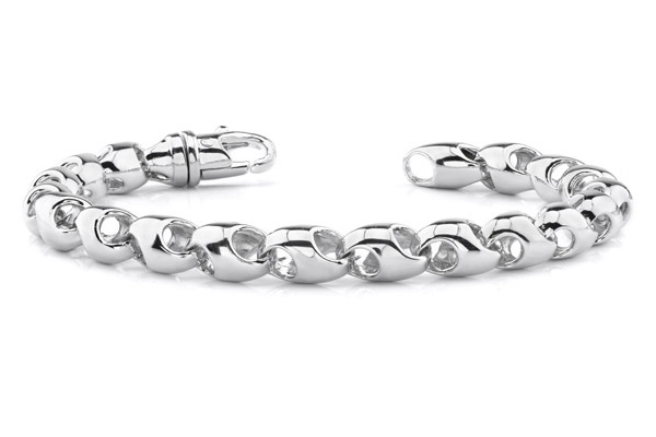 14K White Gold Puffy Link Bracelet