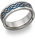 blue titanium celtic weddnig band