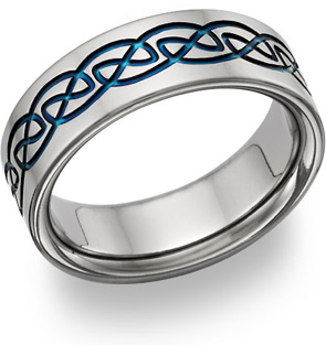 Blue Titanium Celtic Wedding Band Ring - FINAL SALE - Size 10