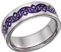 Purple Celtic Heart Love Knot Wedding Band Ring