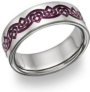 Purple Celtic Heart Love Knot Wedding Band Ring