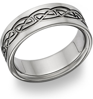 7mm Wide Titanium Celtic Wedding Band Ring