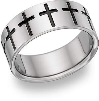 Titanium Cross Band Ring