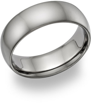 7mm Plain Satin-Finished Titanium Wedding Band Ring, Size 10 - Made in the USA