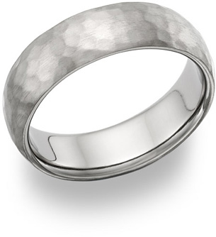 Titanium Hammered Wedding Band Ring