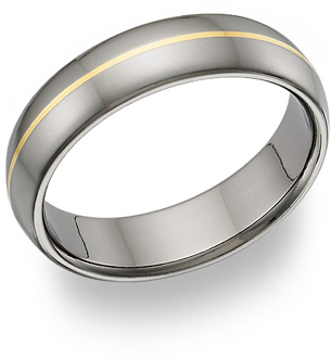 Titanium and 18K Gold Wedding Band Ring
