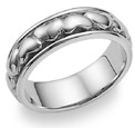 Platinum Eternal Heart Wedding Band Ring