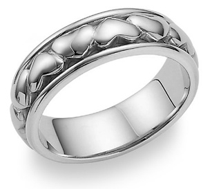 Eternal Heart Wedding Band Ring in 14K White Gold