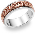 14K Rose Gold Celtic Knot Wedding Band Ring