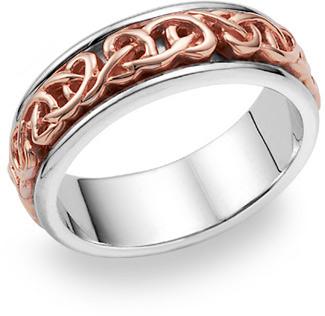 14K Rose Gold Celtic Knot Wedding Band Ring