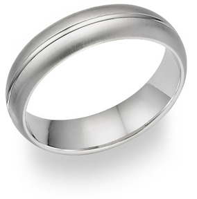 14K White Gold Brushed Wedding Band Ring