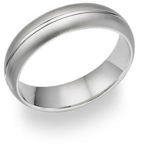 14K White Gold Brushed Wedding Band Ring
