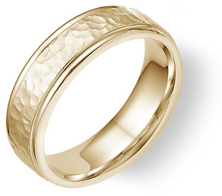 14K Yellow Gold Hammered Wedding Band Ring for Him and Her