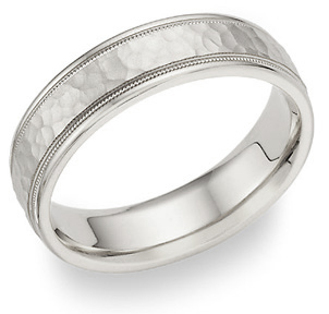 Hammered Milgrain Wedding Band in 18K White Gold