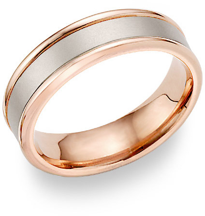 18K Rose Gold Brushed Wedding Band Ring