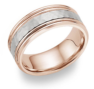 14K Rose Gold Hammered Wedding Band Ring