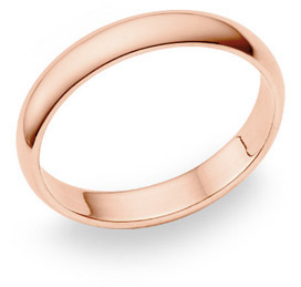 14K Rose Gold Comfort Fit Wedding Band Ring (4mm)