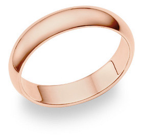 14K Rose Gold Comfort Fit Wedding Band Ring (5mm)