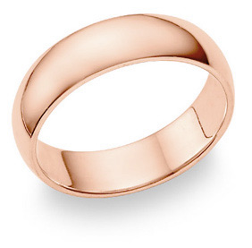 14K Rose Gold Comfort Fit Wedding Band Ring (6mm)