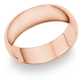14K Rose Gold Comfort Fit Wedding Band Ring (7mm)
