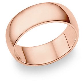 14K Rose Gold Comfort Fit Wedding Band Ring (8mm)