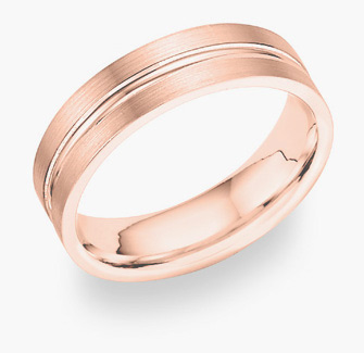 14K Rose Gold Brushed Wedding Band Ring (Wedding Rings, Apples of Gold)