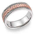 18K Rose Gold Braided Wedding Band Ring