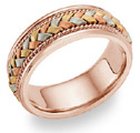 14K Rose Gold and Tri-Color Braided Wedding Band Ring