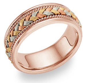 18K Rose Gold and Tri-Color Braided Wedding Band Ring (Wedding Rings, Apples of Gold)
