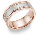 18K Rose Gold Hammered Wedding Band Ring
