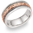 14K Rose Gold Greek Key Wedding Band Ring